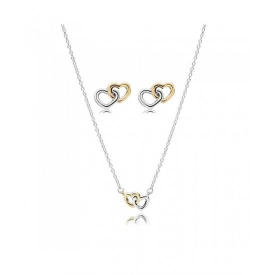 Pandora Set-Silver 14ct Interlocking Hearts Jewellery Jewelry