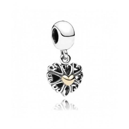 Pandora Pendant-Silver 14ct Gold Openwork Love Jewelry