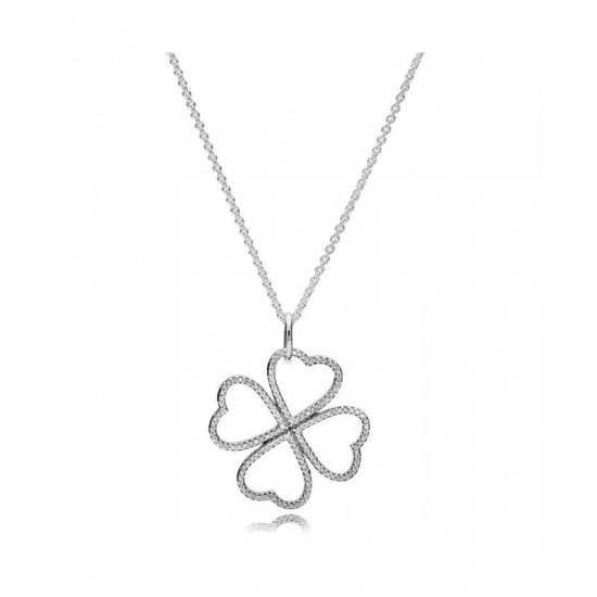 Pandora Necklace-Silver Petals Of Love Jewelry