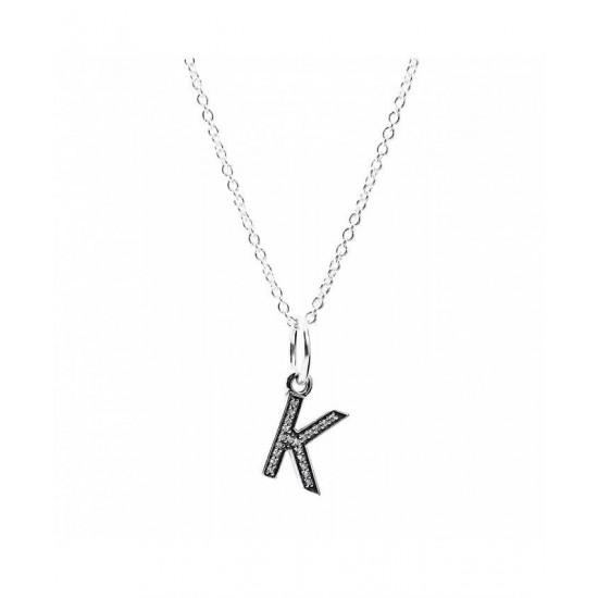 Pandora Necklace-Sparkling Alphabet K Jewelry