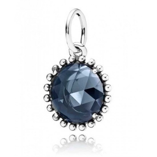 Pandora Pendant-Silver Dark Blue Crystal Jewelry