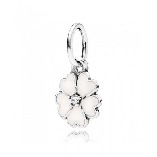 Pandora Pendant-Silver White Enamel Primrose Jewelry