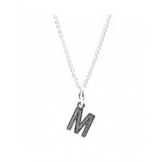 Pandora Necklace-Sparkling Alphabet M Jewelry
