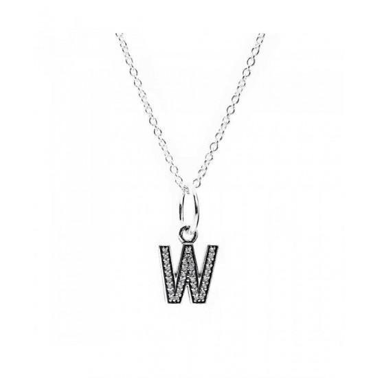 Pandora Necklace-Sparkling Alphabet W Jewelry