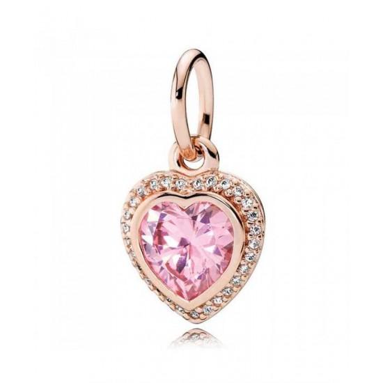 Pandora Pendant-Rose Sparkling Love Cubic Zirconia Heart Jewelry