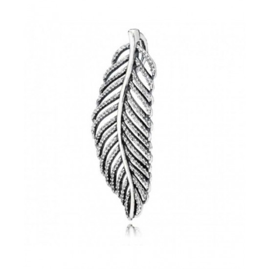 Pandora Pendant-Silver Feather Micro Cubic Zirconia Pave Jewelry