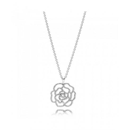 Pandora Necklace-Silver Cubic Zirconia Rose Jewelry