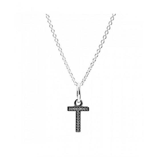 Pandora Necklace-Sparkling Alphabet T Jewelry