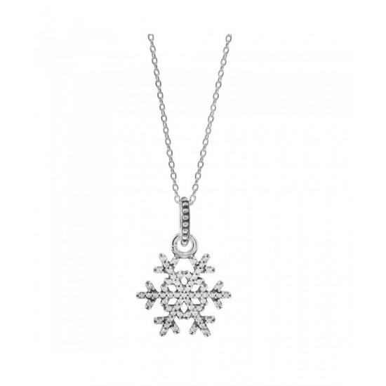 Pandora Necklace-Sparkling Snowflake Jewelry