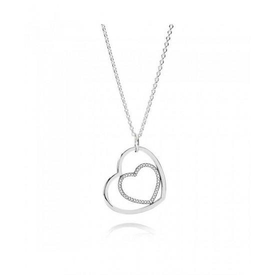 Pandora Pendant-Silver Cubic Zirconia Heart Jewelry