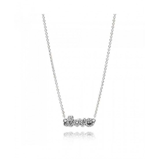 Pandora Necklace-Silver Cubic Zirconia Love Jewelry