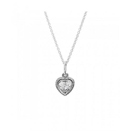 Pandora Necklace-Silver Sparkling Love Jewelry