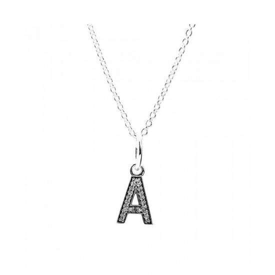 Pandora Necklace-Sparkling Alphabet A Jewelry