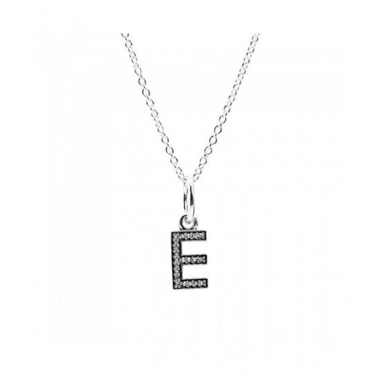 Pandora Necklace-Sparkling Alphabet E Jewelry