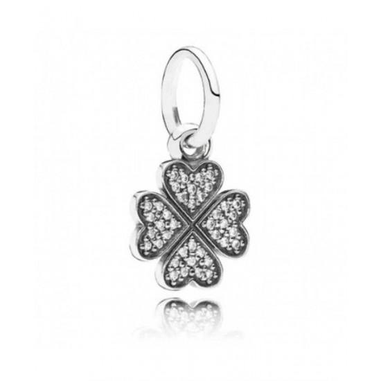 Pandora Pendant-Sparkling Lucky Clover Jewelry