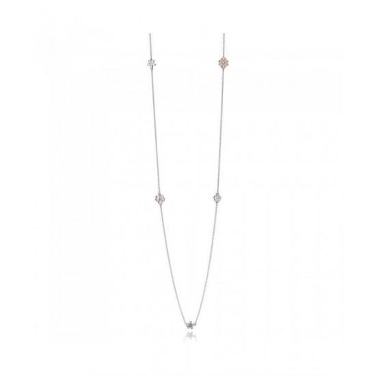 Pandora Necklace-Silver Cubic Zirconia Poetic Blooms Jewelry