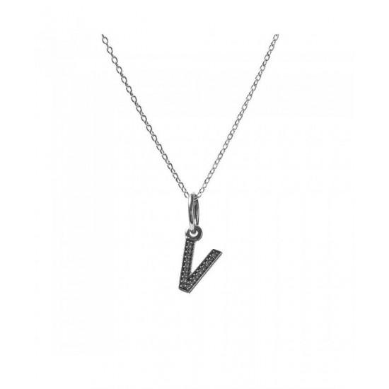 Pandora Necklace-Sparkling Alphabet V Jewelry