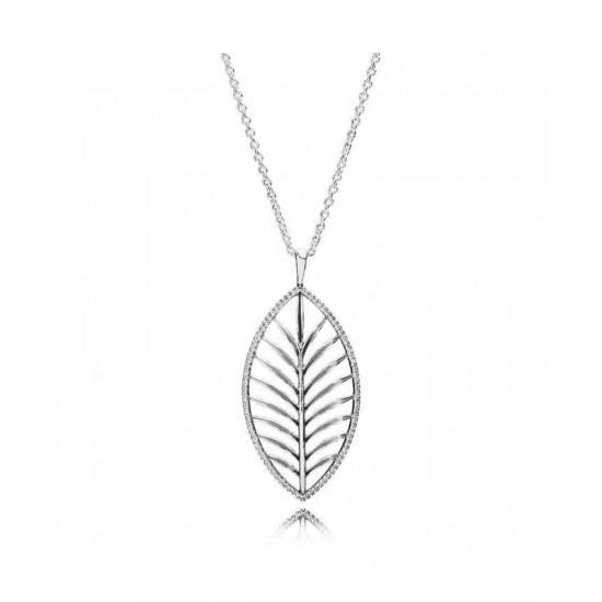 Pandora Pendant-Silver Cubic Zirconia Palm Leaf Jewelry