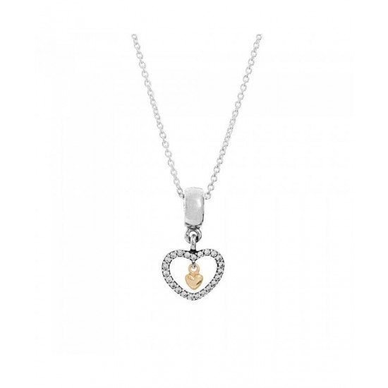 Pandora Necklace-Silver 14ct Heart Dropper Jewelry
