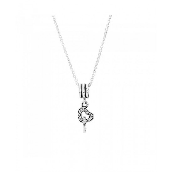 Pandora Necklace-Silver Intertwined Hearts Jewelry