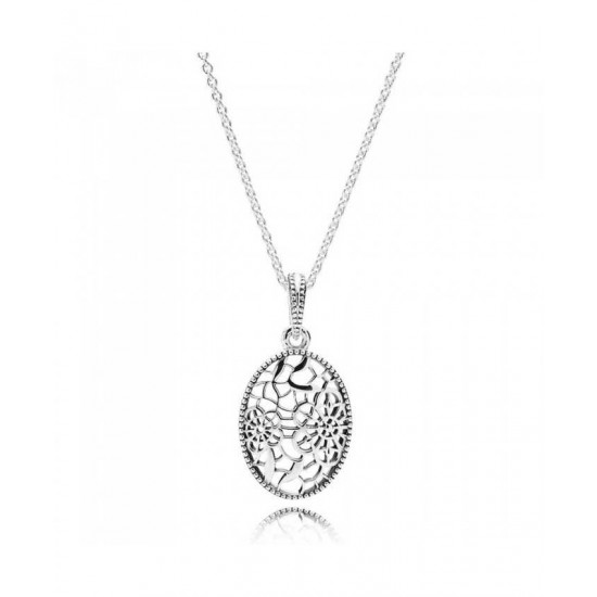 Pandora Pendant-Silver Cubic Zirconia Floral Daisy Lace Jewelry