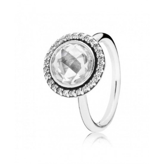 Pandora Ring-Silver Clear Faceted Cubic Zirconia Jewelry