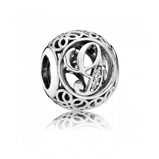 Pandora Charm-Silver Cubic Zirconia Vintage G Swirl Jewelry