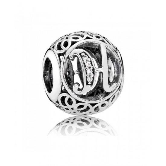 Pandora Charm-Silver Cubic Zirconia Vintage H Swirl Jewelry