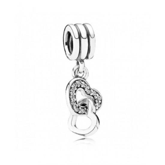 Pandora Charm-Silver Cz Double Heart Dropper Jewelry