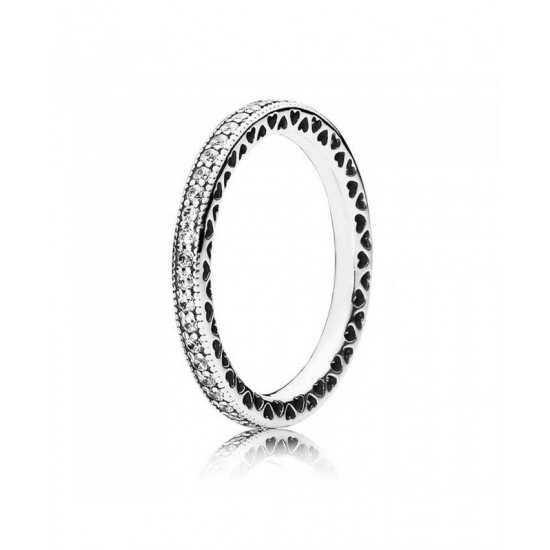 Pandora Ring-Silver Cubic Zirconia Heart Band Jewelry
