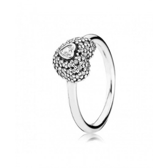 Pandora Ring-Silver Cubic Zirconia Pave Heart Jewelry