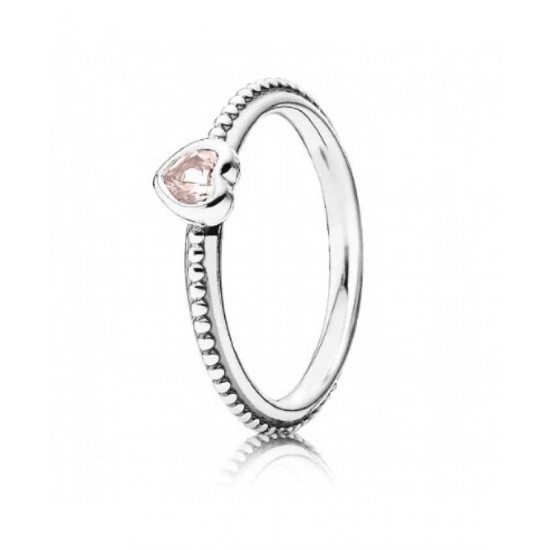 Pandora Ring-Silver Synthetic Pink Sapphire Heart