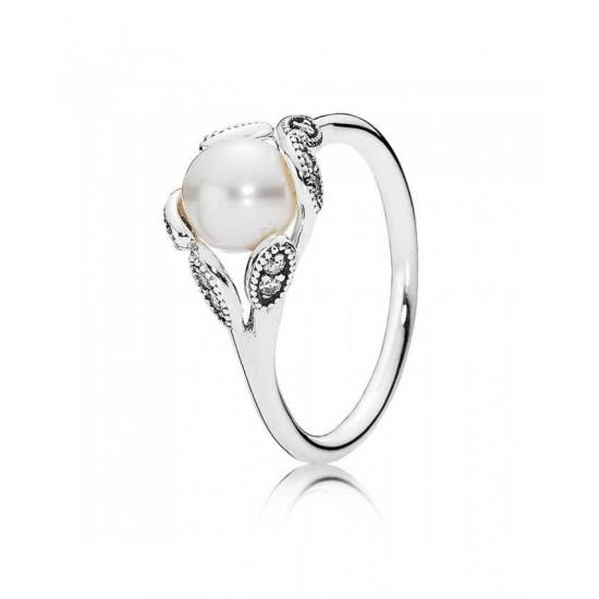 Pandora Ring-Silver Cubic Zirconia Pearl Luminous Leaves Jewelry