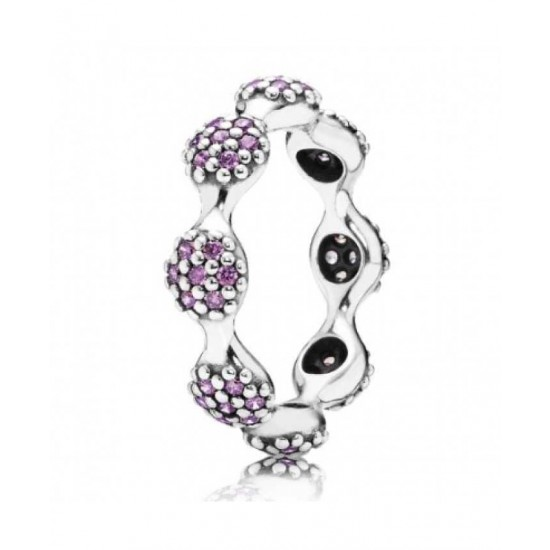 Pandora Ring-Sterling Silver Purple Cubic Zirconia Clusters Band Jewelry