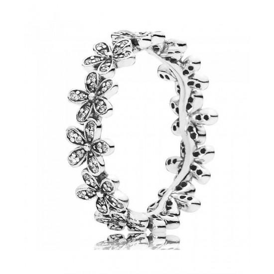 Pandora Ring-Silver Cubic Zirconia Daisy Band Jewelry