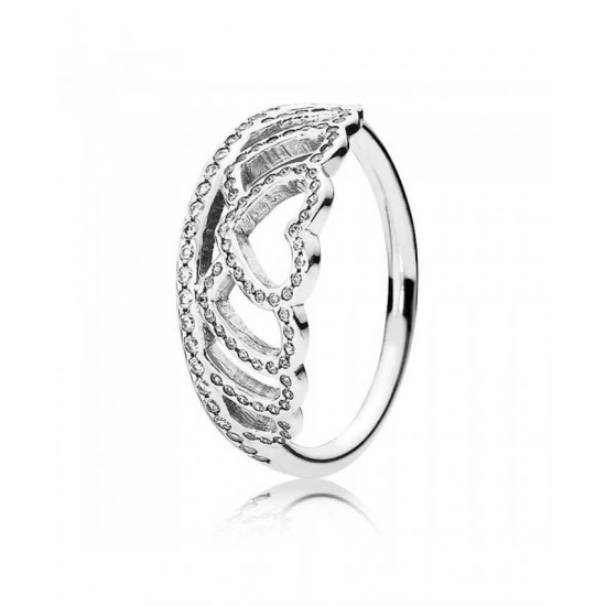 Pandora Ring-Silver Cubic Zirconia Hearts Tiara Jewelry