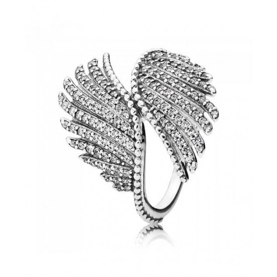 Pandora Ring-Silver Cubic Zirconia Majestic Feathers Jewelry