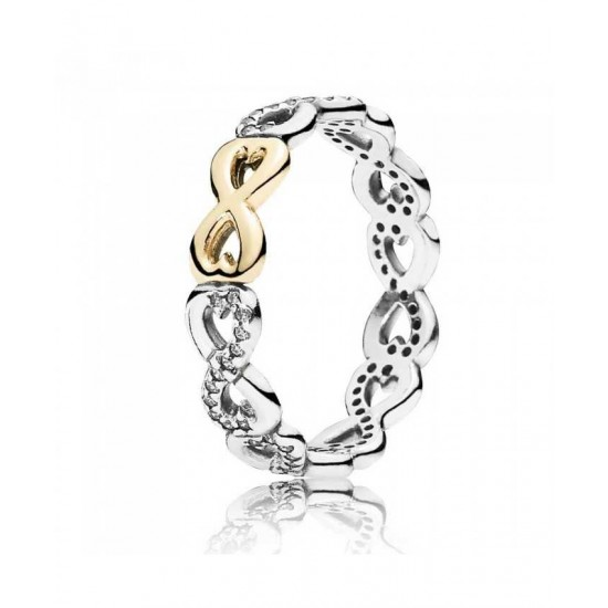 Pandora Ring-Silver 14ct Gold Cubic Zirconia Infinity Jewelry