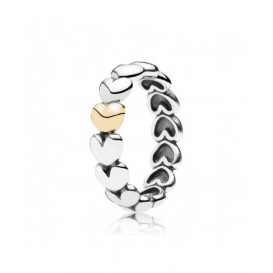 Pandora Ring-Silver And 14ct Gold Heart Band Jewelry USA Sale