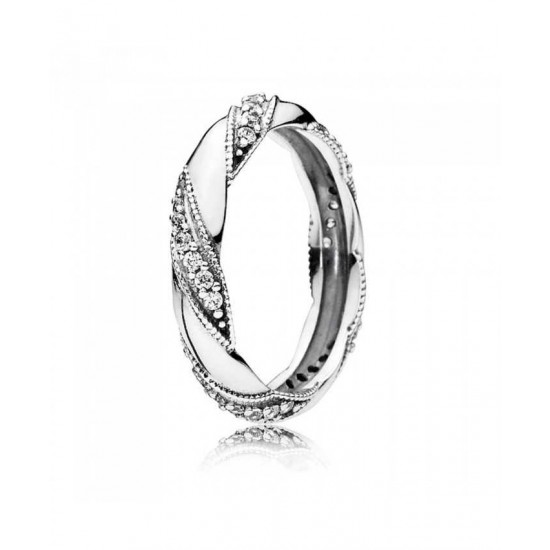 Pandora Ring-Silver Cubic Zirconia Ribbon Of Love