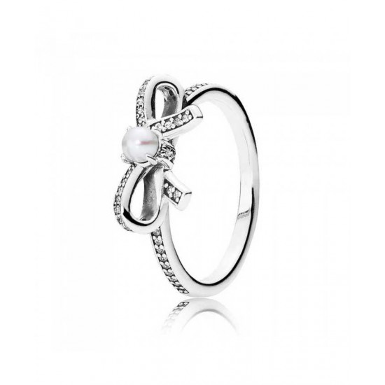 Pandora Ring-Silver Delicate Sentiments Pearl Bow Jewelry