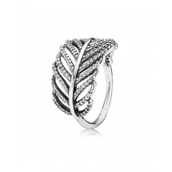 Pandora Ring-Silver Feather Micro Cubic Zirconia Pave Jewelry