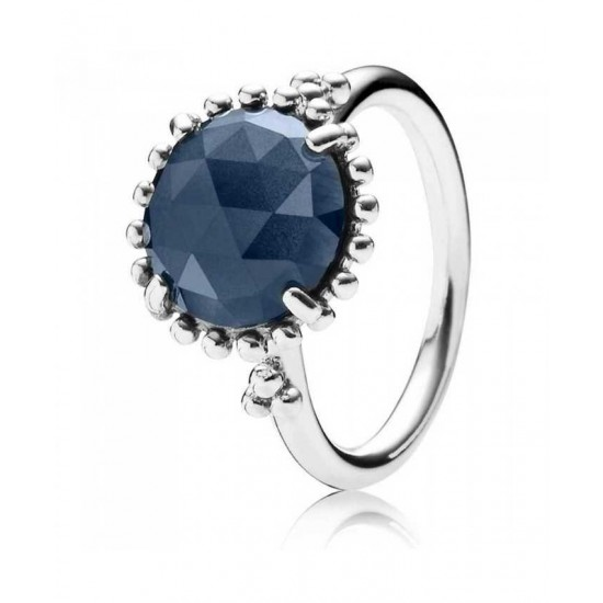 Pandora Ring-Silver Round Midnight Blue Crystal Jewelry