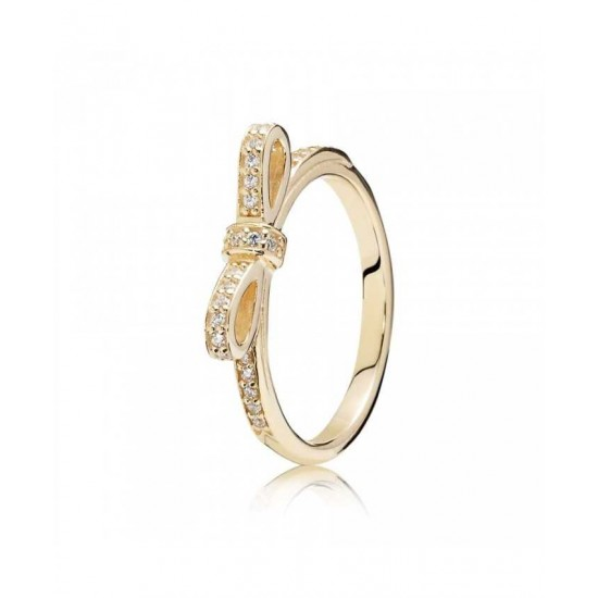 Online Pandora Ring-14ct Gold Delicate Bow Jewelry