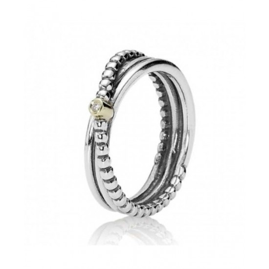 Pandora Ring-Silver And 14ct Gold Diamond Plain And Bead